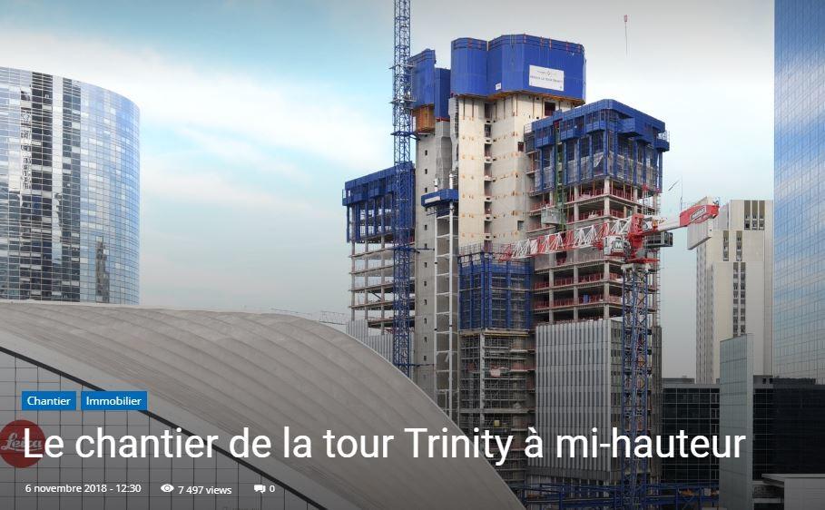 Le chantier de la tour Trinity à mi-hauteur - © Cro&Co